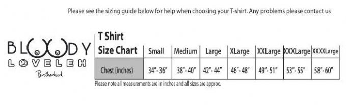 Simply Loveleh T-shirt Size chart. Produced and Dispatched in the UK